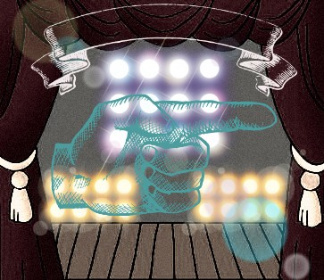 A stage between curtains behind a green hand, artwork