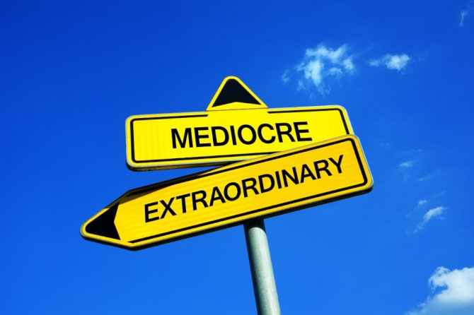Roadsigns showing the directions to mediocre and extraordinary