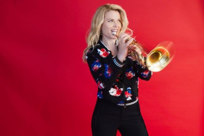 Bria Skonberg with her trumpet