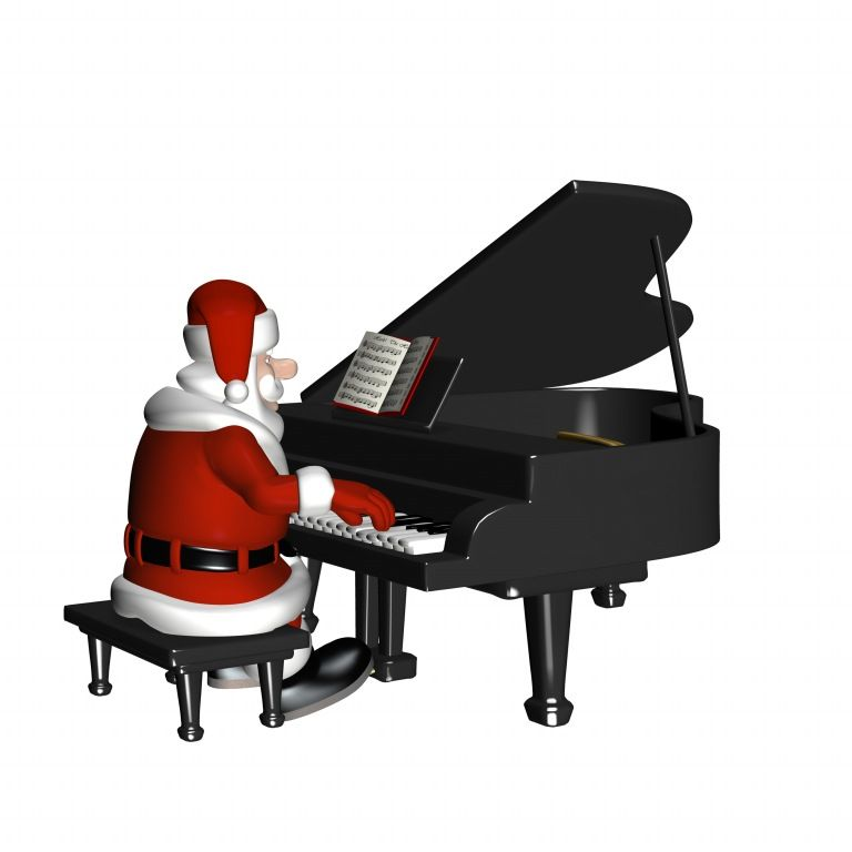 Santa plays piano